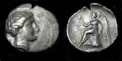 Ancient Coins - Bruttium, Terina. ca 300 BC. AR Third-Nomos.
