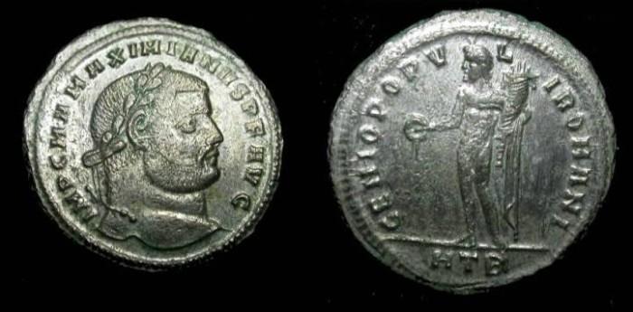 Ancient Coins - Maximianus, AR plated AE follis