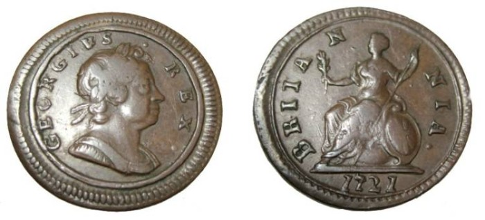 World Coins - 1721 George I Farthing