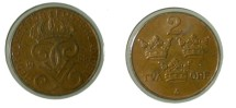 World Coins - Sweden 2 Ore 1935 KM#778