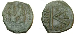 Ancient Coins - Justin II with Sophia AE Follis Thessalonika