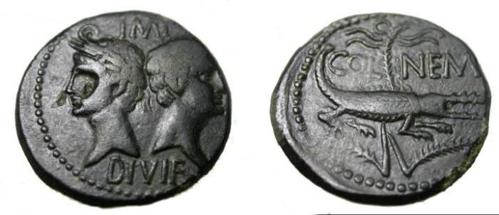 Ancient Coins - Gaul, Nemausus Augustus & Agrippa Ca. 27BC AE Dupondius