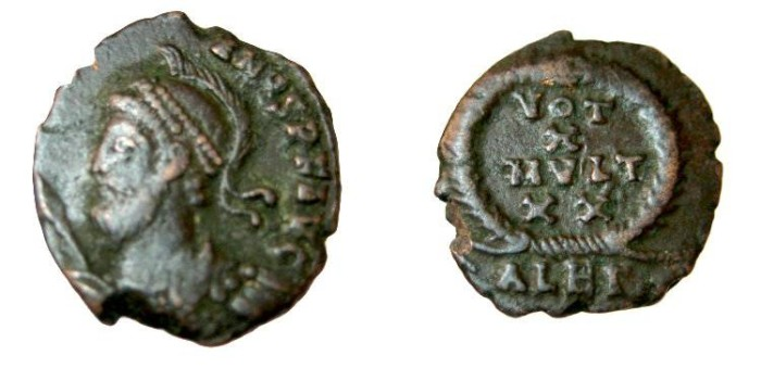 Ancient Coins - Julian II AE3 VOT X MVLT XX in wreath Alex Mint