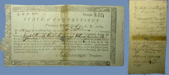 US Coins - Connecticut State Treasury Note  June 1, 1782