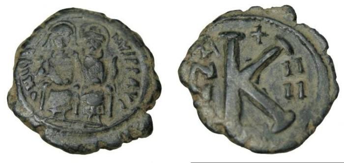 Ancient Coins - Justin II 565-578 AE 1/2 Follis Constantinople