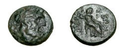Ancient Coins - Thessaly The Perrhaebi AE18 head Zeus R Hera enthroned S-2174