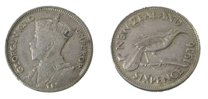 World Coins - 1936 New Zealand  AR 6 Pence George V
