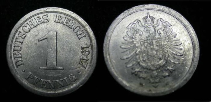 World Coins - Germany 1917 E 1 Pfennig  KM 24