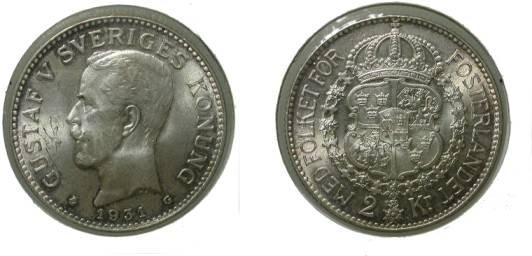 World Coins - Sweden 2 Kroner 1931 UncKM # 787