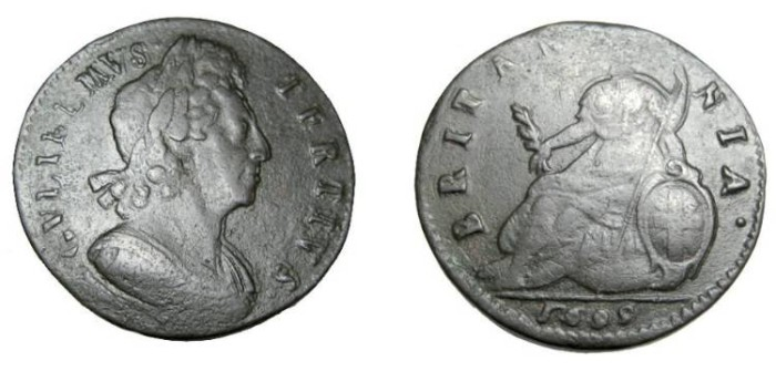 World Coins - 1699 William III Half Penny