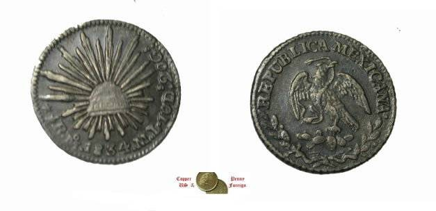 World Coins - Mexico 1834 1/2 Real  Mo ML KM 370.9