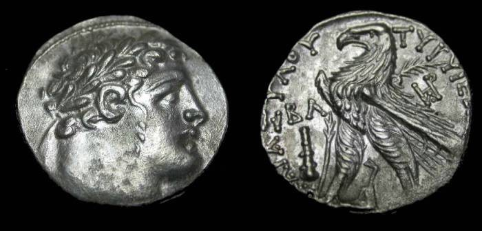 Ancient Coins - Phoenicia , AR Shekle of Tyre 125/5 BC