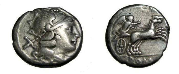 Ancient Coins - Roman republic  Anonymous 157-1755 BC AR Denarius RCI 76