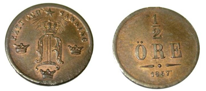 World Coins - 1857 1/2 Ore  KM 686