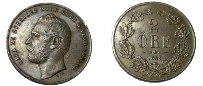 World Coins - 1864 2 Ore KM 706