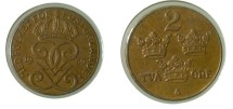 World Coins - Sweden 2 Ore 1939 KM#778