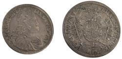 World Coins - Austria. Karl VI (1711-1740). AR 1/2 Taler 1724, Hall Argento Silver 1724, Hall mint.  Herinek 486. AR. 14.12 grams, 35.1mm