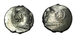 Ancient Coins - Western Satraps family of Swami Rudrascam 348-390 AD AR Drachm Brockage M-2814/21 S!