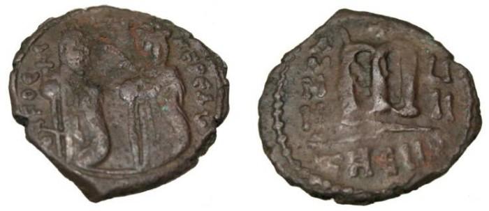 Ancient Coins - Phocas 602-610 AD  AE Follis Theoupolis