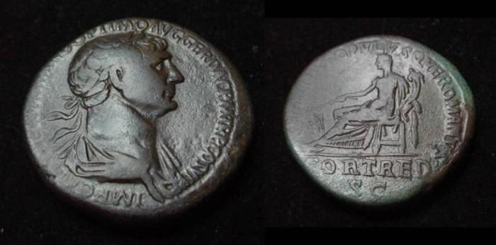 Ancient Coins - Trajan 98-117AD AE Sestertius