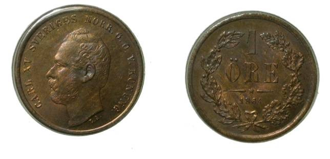 World Coins - Sweden 1 Ore 1864 Red/Brown Unc KM #705