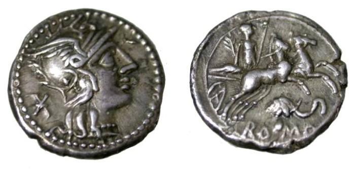 Ancient Coins - L. Caecilius Metellus Diadematus, AR Denarie 128 BC