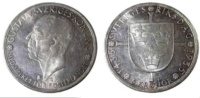 World Coins - Sweden 5 Kroner Unc KM 806