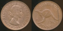 World Coins - Australia, 1962(p) One Penny, 1d, Elizabeth II - Uncirculated