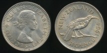 World Coins - New Zealand, 1964 Sixpence, 6d, Elizabeth II - Uncirculated