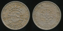 World Coins - Angola, Portuguese Colony, 1969 10 Escudos - Extra Fine