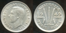 World Coins - Australia, 1949 Threepence, George VI (Silver) - almost Uncirculated