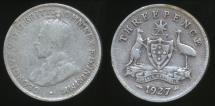 World Coins - Australia, 1927 Threepence, 3d, George V (Silver) - Good