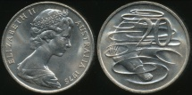 World Coins - Australia, 1975 Canberra 20 Cent, Elizabeth II - Choice Uncirculated