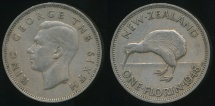 World Coins - New Zealand, 1948 Florin, 2/-, George VI - Very Fine