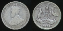 World Coins - Australia, 1925 Sixpence, 6d, George V (Silver) - Very Good