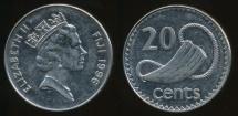 Fiji, Republic, 1996 20 Cents, Elizabeth II - Extra Fine