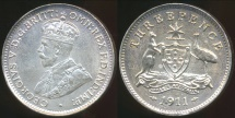 World Coins - Australia, 1911 Threepence, George V (Silver) - Uncirculated