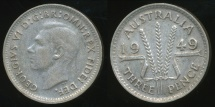 World Coins - Australia, 1949 Threepence, 3d, George VI (Silver) - Fine/Very Fine