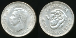 World Coins - Australia, 1938 One Shilling, 1/-, George VI (Silver) - Choice Uncirculated