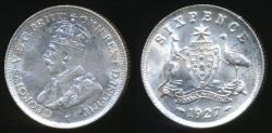 World Coins - Australia, 1927 Sixpence, 6d, George V (Silver) - almost Uncirculated