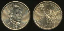 World Coins - United States, 2008-D James Monroe Presidential Dollar, $1 - Uncirculated