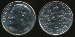 World Coins - United States, 1999-D Dime, Roosevelt - Uncirculated
