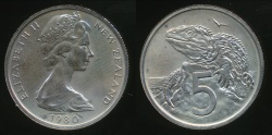 World Coins - New Zealand, 1980 Five Cents, 5c, Elizabeth II - Uncirculated