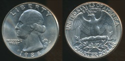 World Coins - United States, 1986-D Quarter, 1/4 Dollar, Washington - Uncirculated