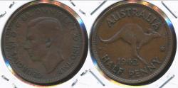 World Coins - Australia, 1942(p) Halfpenny, 1/2d, George VI - Very Fine
