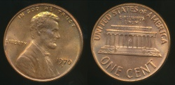 World Coins - United States, 1970-D One Cent, Lincoln Memorial - Uncirculated