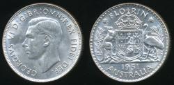 World Coins - Australia, 1951(m) Florin, 2/-, George VI (Silver) - Uncirculated