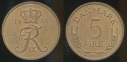 World Coins - Denmark, Kingdom, Frederik IX, 1968 5 Ore - Uncirculated