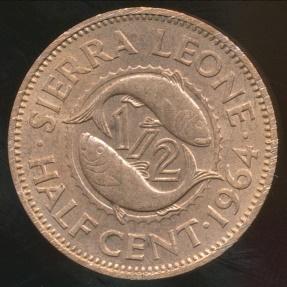 World Coins - Sierra Leone, Republic, 1964 1/2 Cent - Uncirculated