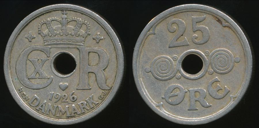 World Coins - Denmark, Kingdom, Christian X, 1926 25 Ore - Very Fine